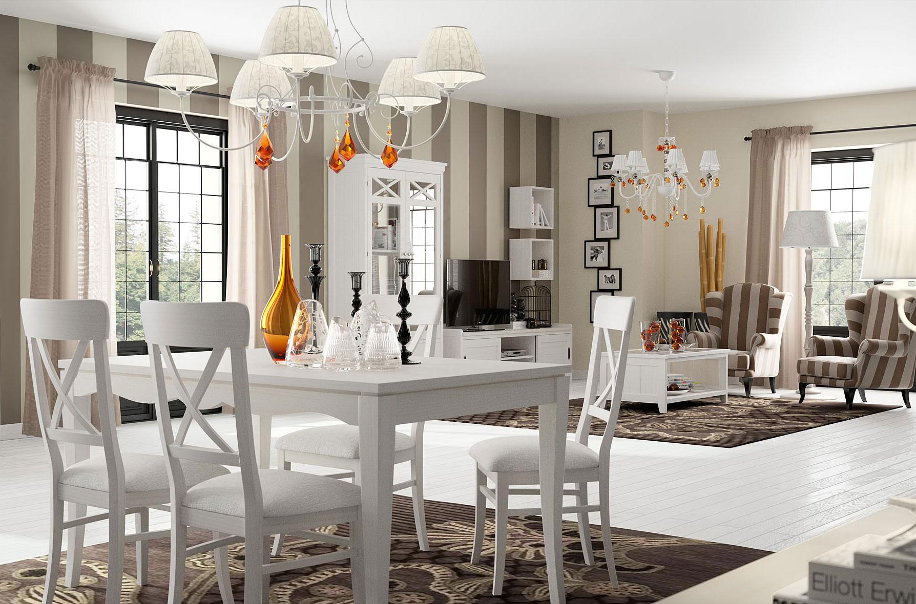 Comedor vintage provenzal blanco verona en for Decoracion para muebles de comedor
