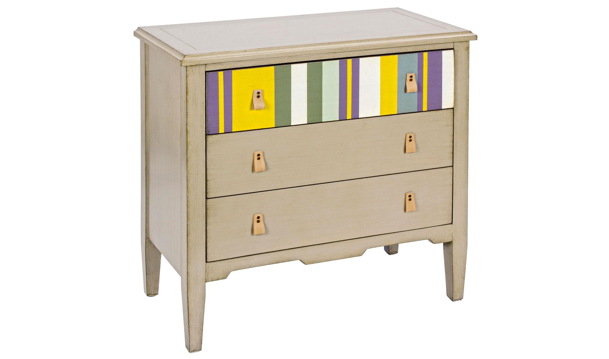 Comod n rayas vintage varenna no disponible en for Muebles pintados a rayas