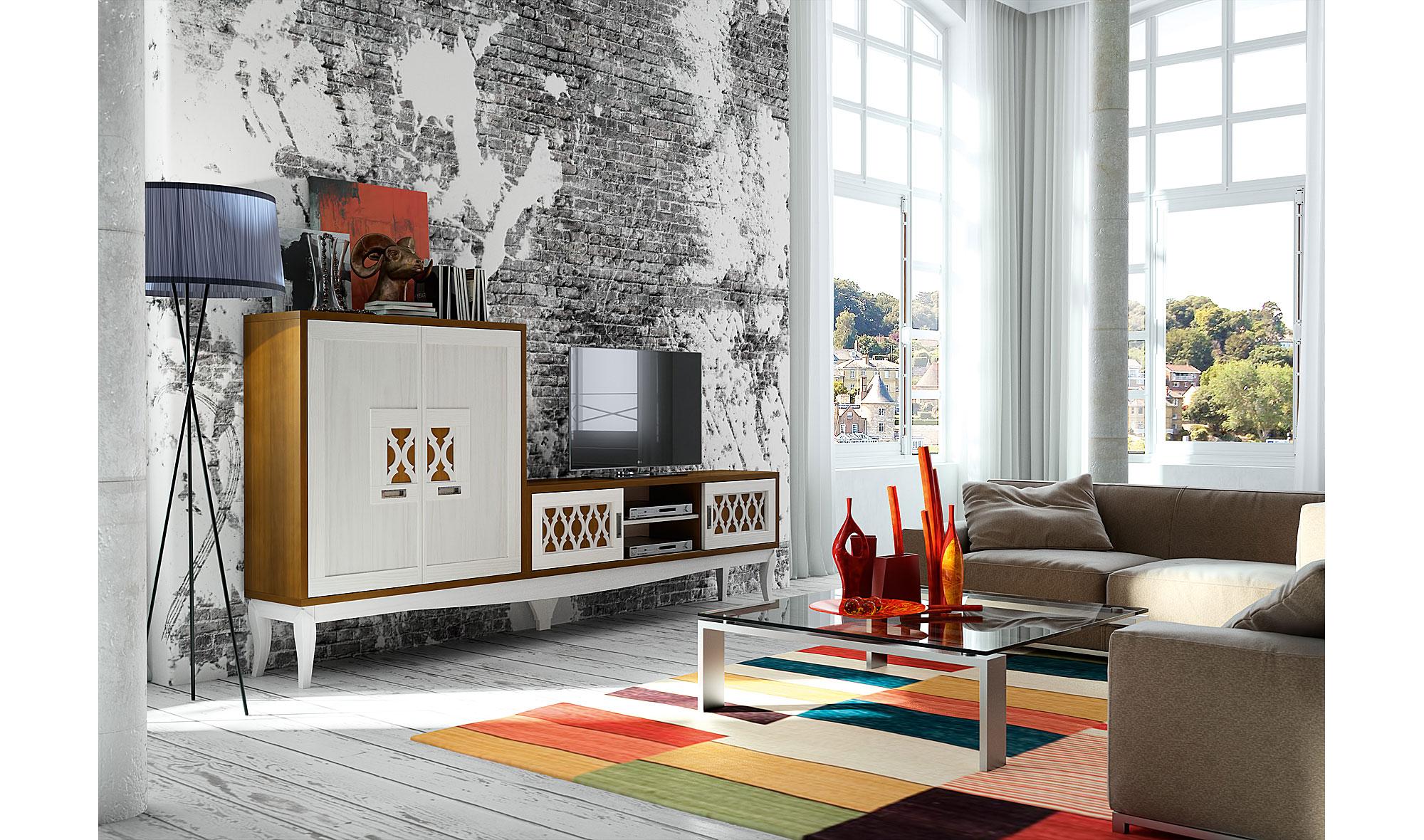 Muebles salon blanco envejecido fabulous armario efecto - Muebles blanco envejecido ...