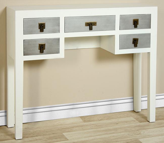 Consola 5 cajones blanco y plata chino bise no disponible - Muebles de entrada vintage ...