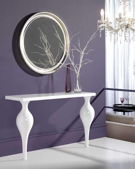 Consola y espejo lacado blanco en for Espejo recibidor blanco