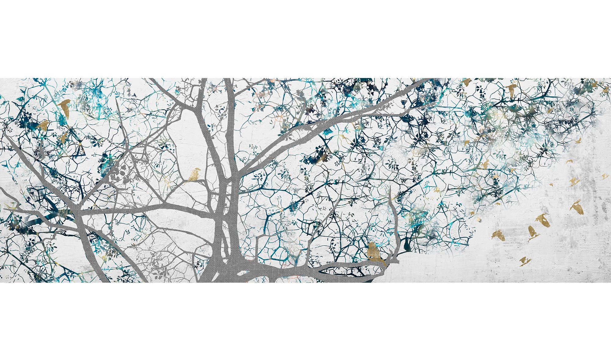-Cuadro Ramas árbol Fondo Blanco Roto Con Aves En