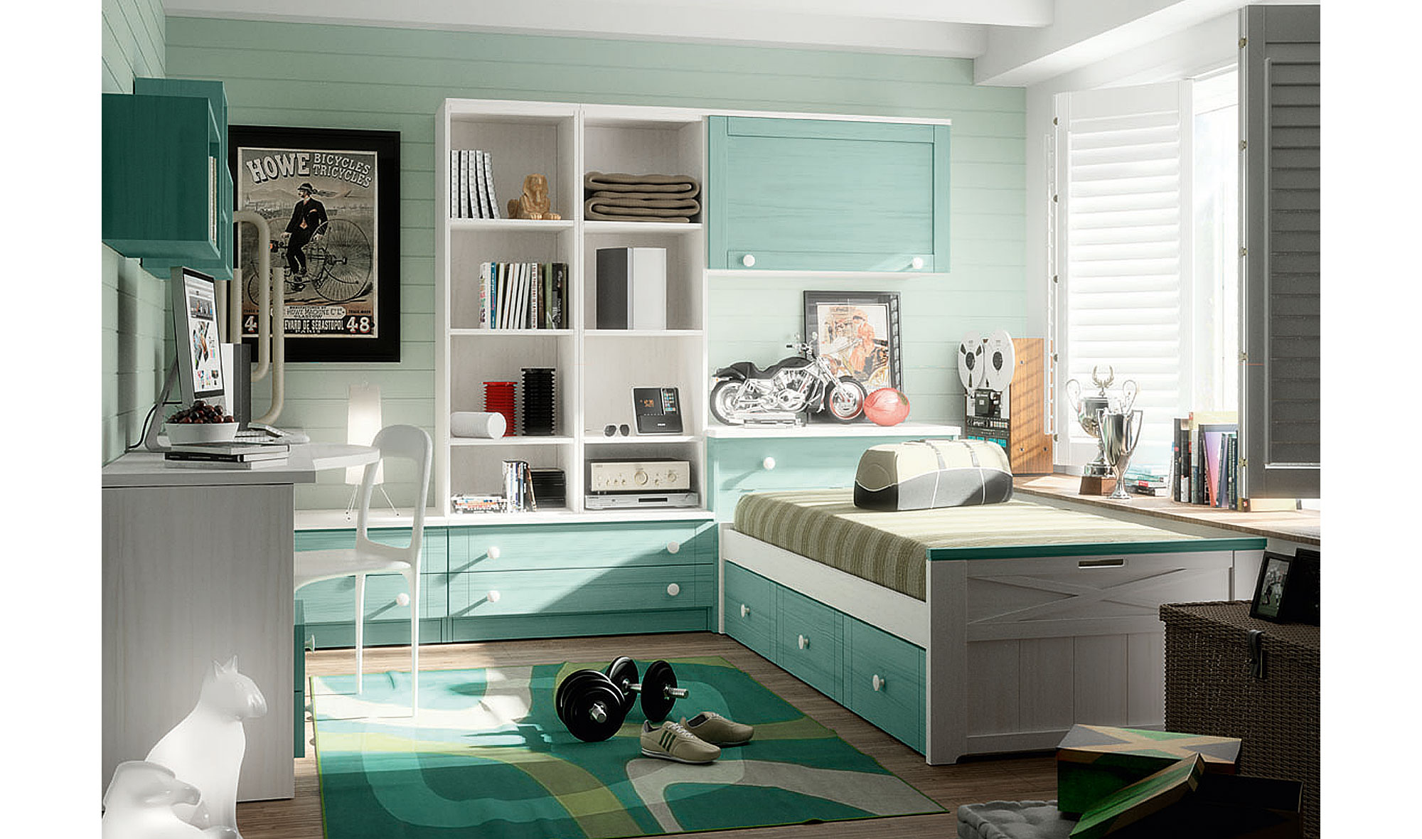 Dormitorio vintage provenzal juvenil apilable en for Muebles y dormitorios