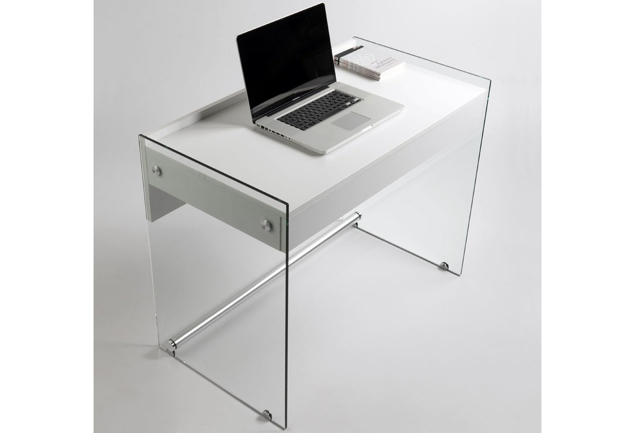 Escritorio cristal moderno mydesk no disponible en for Mesas estudio cristal