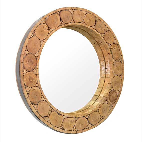 Espejo redondo rustico en for Espejos de pie en madera