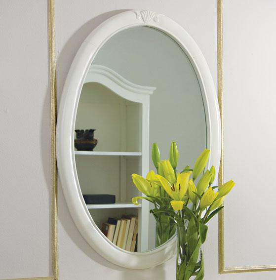 Espejo ovalado blanco vintage par s en cosas de for Espejo ovalado blanco
