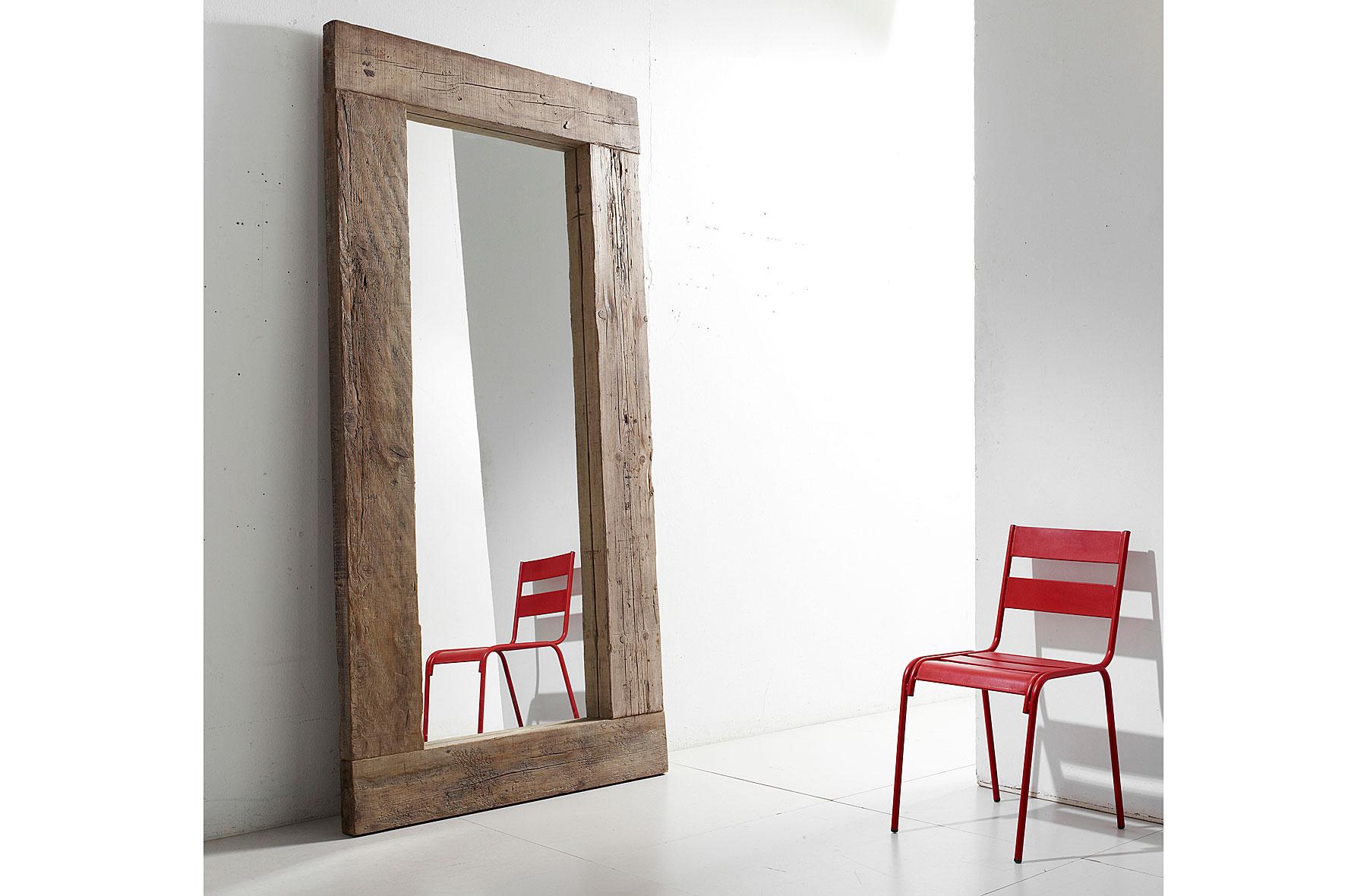 Espejo oreg n de madera centenaria en for Espejos vestidores de pared