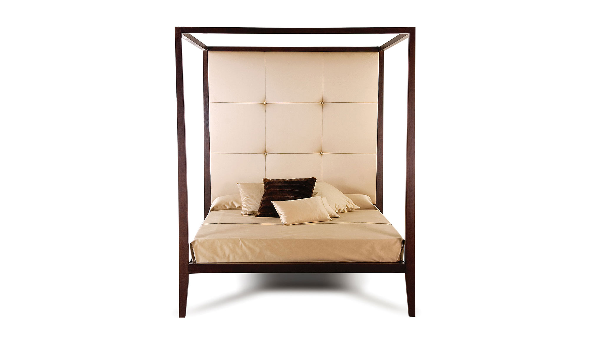 Cama con dosel cabecero tapizado de lujo en for Muebles de lujo