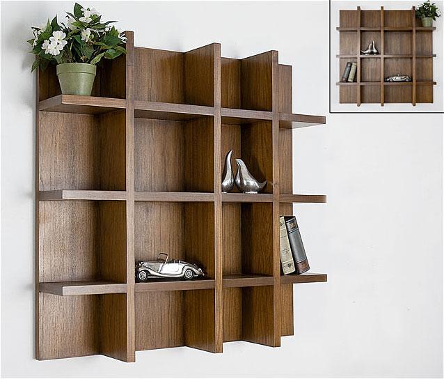 Estante de pared libreria teca no disponible en for Muebles de libreria