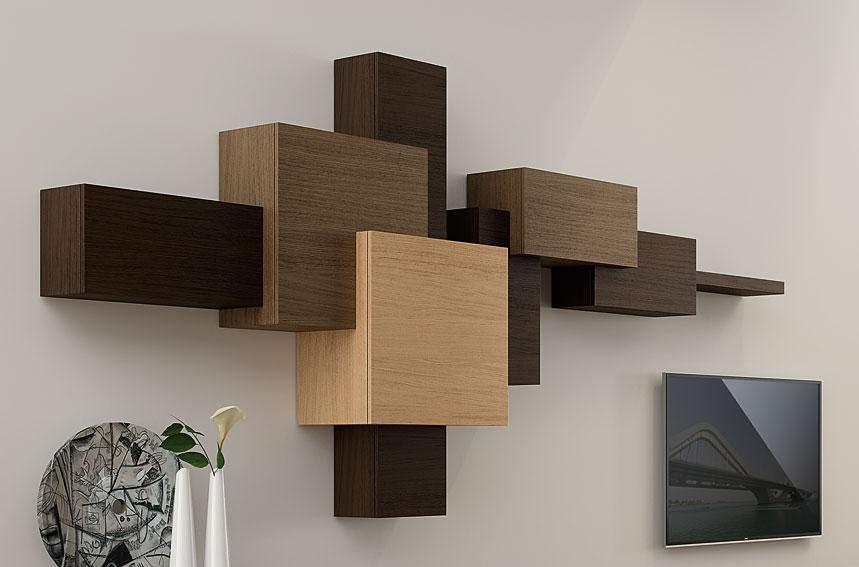 Estanter a moderna cubista en - Muebles estanterias de madera ...