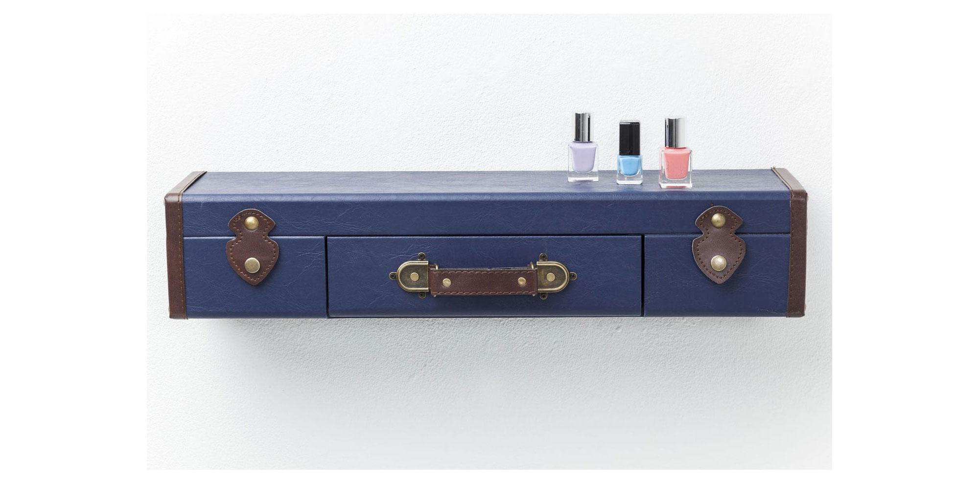Estanter A De Pared Vintage Maleta Azul Oscuro No Disponible En  # Muebles Licoreras Pared