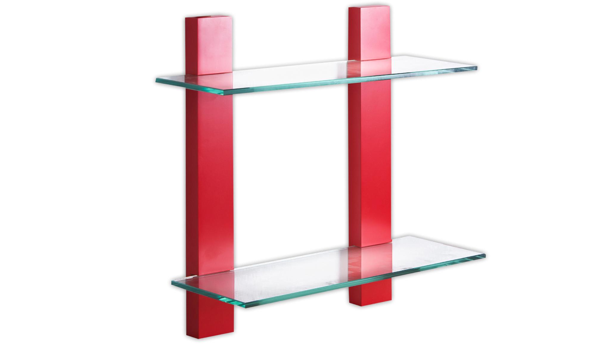 Estanter a roja con cristal 2 estantes en - Estanterias con cristal ...
