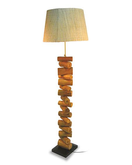 L mpara de pie trozos madera redondos no disponible en - Lamparas con madera ...