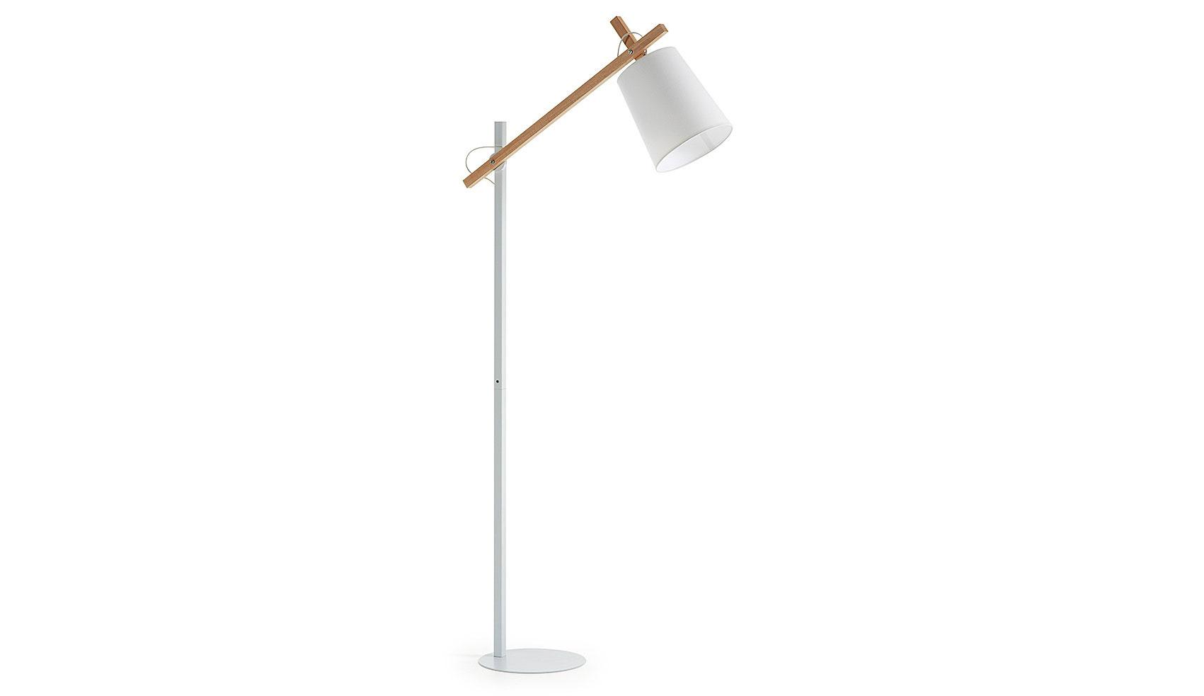 Lámpara de pie Kosta blanca y madera