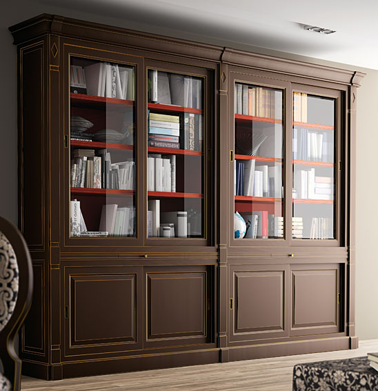 Librer a cl sica classic en for Muebles librerias para salon