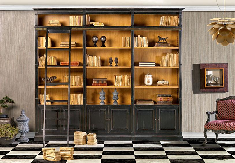 Libreria cl sica con escalera 3 cajones en for Escalera libreria