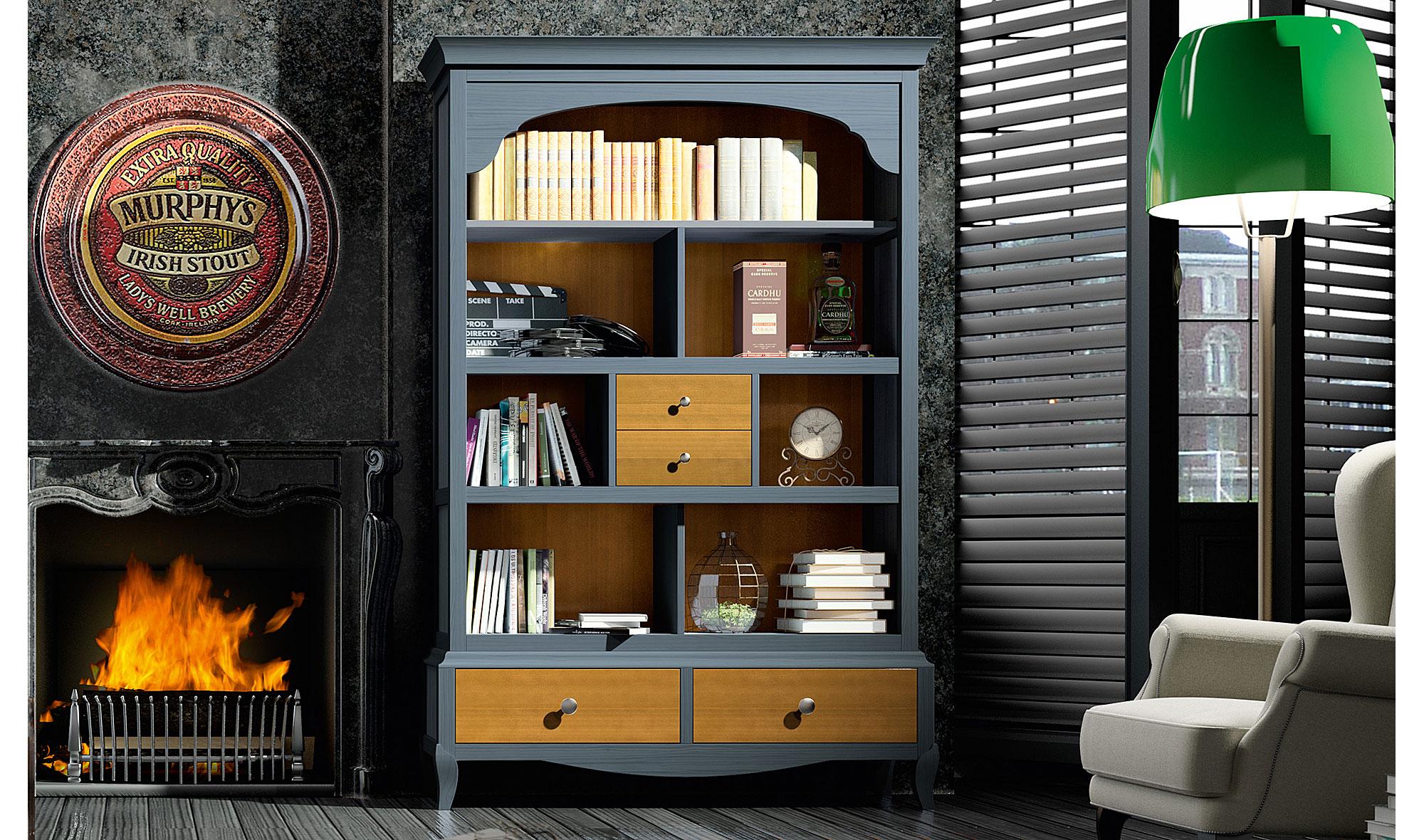 Librer a vintage provenzal azul basilea en for Muebles librerias modernas