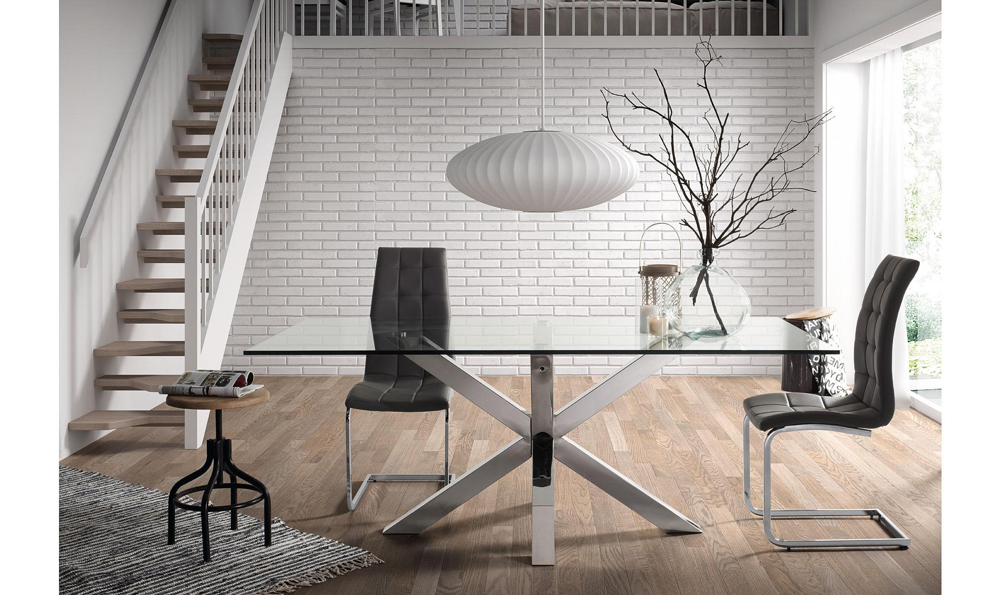 Mesa de comedor cuadrada moderna arya en for Mesas de salon de cristal