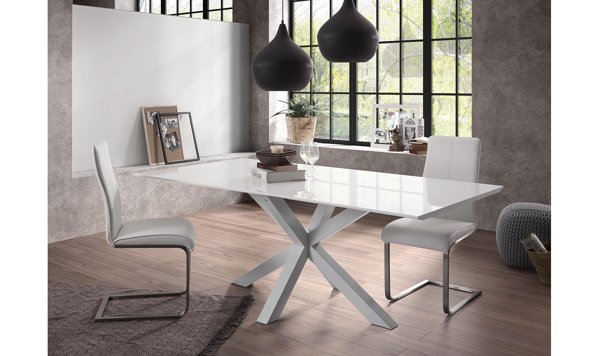 Mesa de comedor cuadrada blanca arya no disponible en for Mesa cuadrada blanca