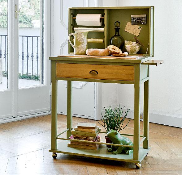 Mesa auxiliar clasica verde ross tonin casa en for Muebles auxiliares de cocina