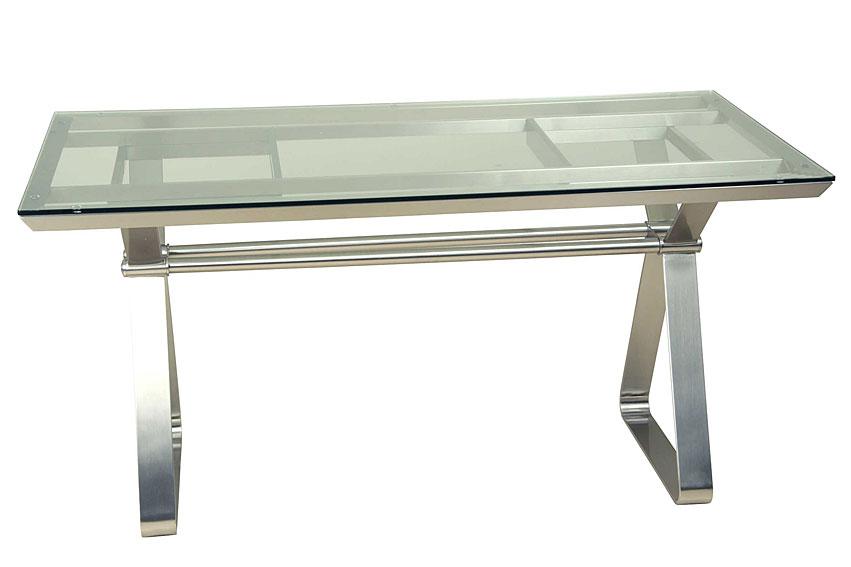 Mesa acero inox cristal no disponible en for Muebles oficina cristal