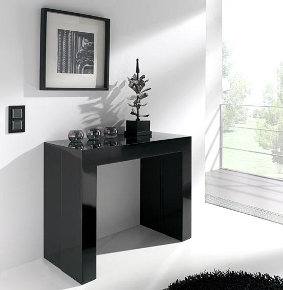 Consola convertible en mesa de comedor moderna negra no - Mesas de recibidor modernas ...