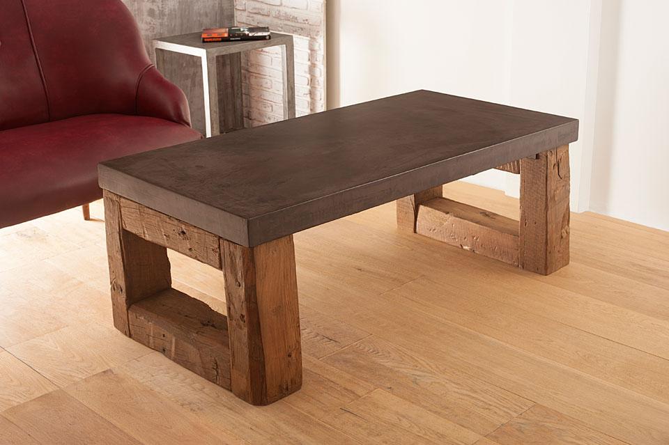 Mesa centro microcemento gruesa galena en for Hacer mesa de madera rustica