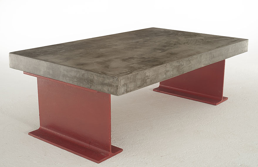 Mesa centro microcemento gruesa rutilo en for Muebles microcemento