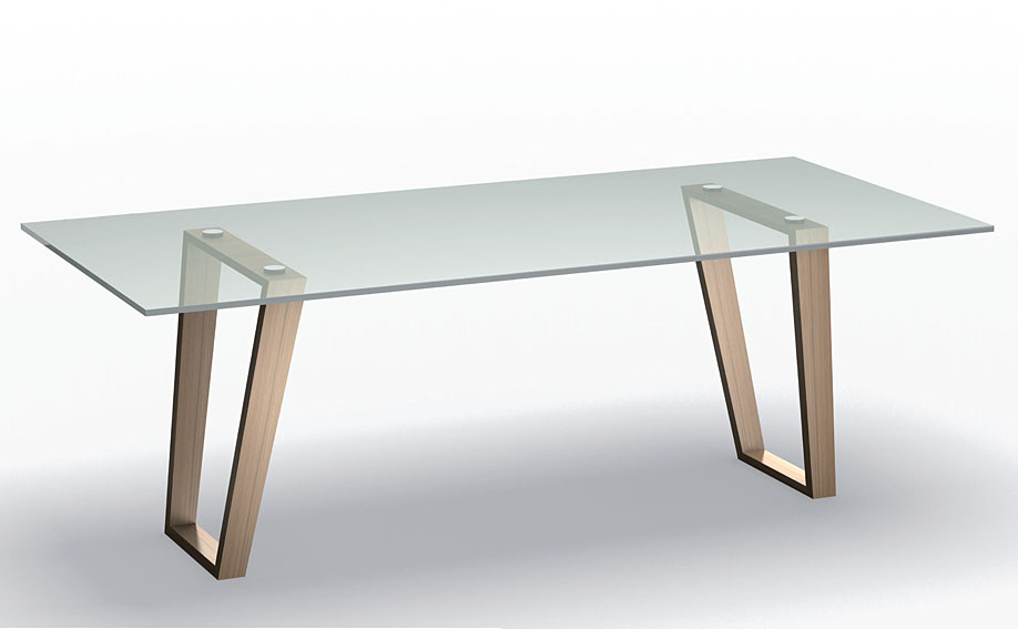 Mesa de comedor moderna cristal benedicta en cosas de for Mesas de comedor de madera de diseno