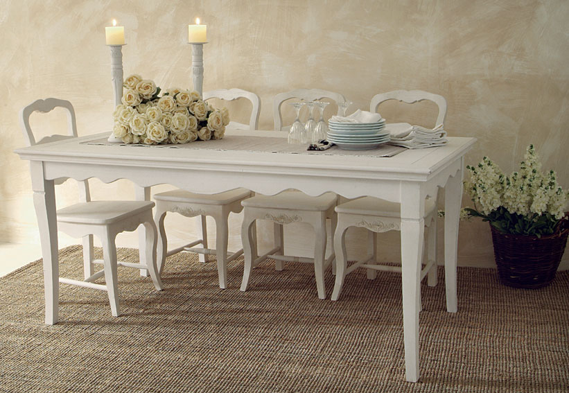 Comedor blanco provence no disponible en for Mesas de salon blancas