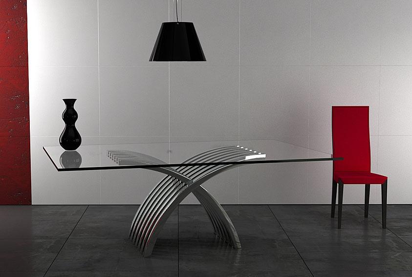 Mesa de comedor acero brujas no disponible en - Mesa comedor cristal y acero ...