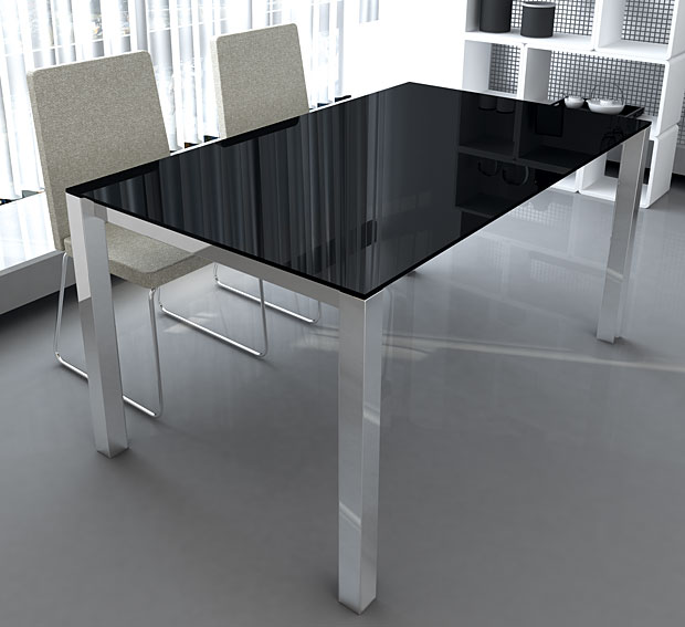 Mesa de comedor extensible moderna rosi en for Mesas comedor extensibles modernas