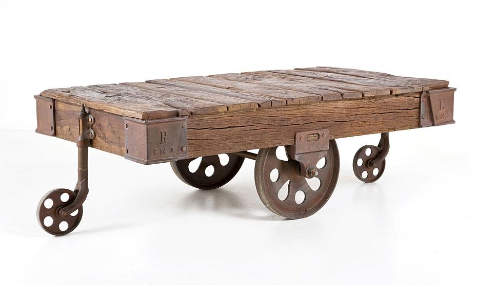 Mesa de Centro Vintage Dirty Chic wheels