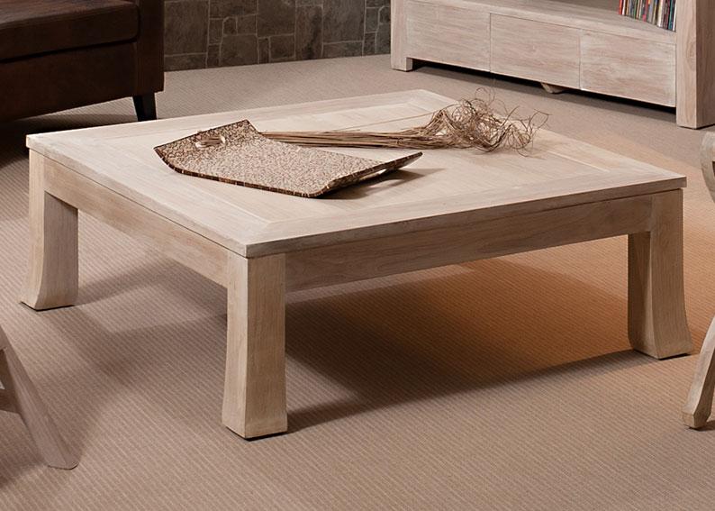 Mesa de centro cuadrada colonial madera lavada no for Mesa centro madera