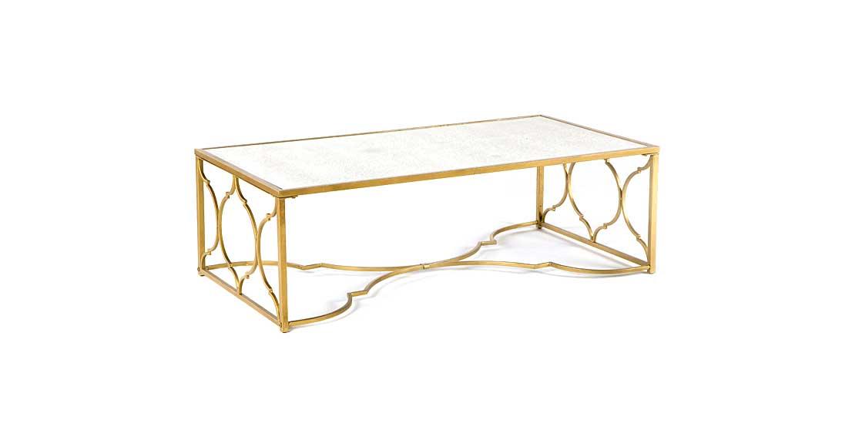 Mesa de centro metal oro de lujo en for Mesa cristal y dorado