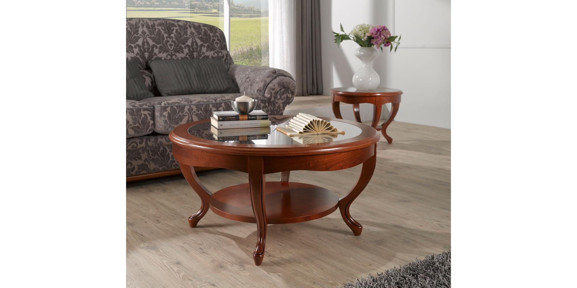 Excelente Muebles Mesa De Centro Redonda Con Espejo Friso - Muebles ...