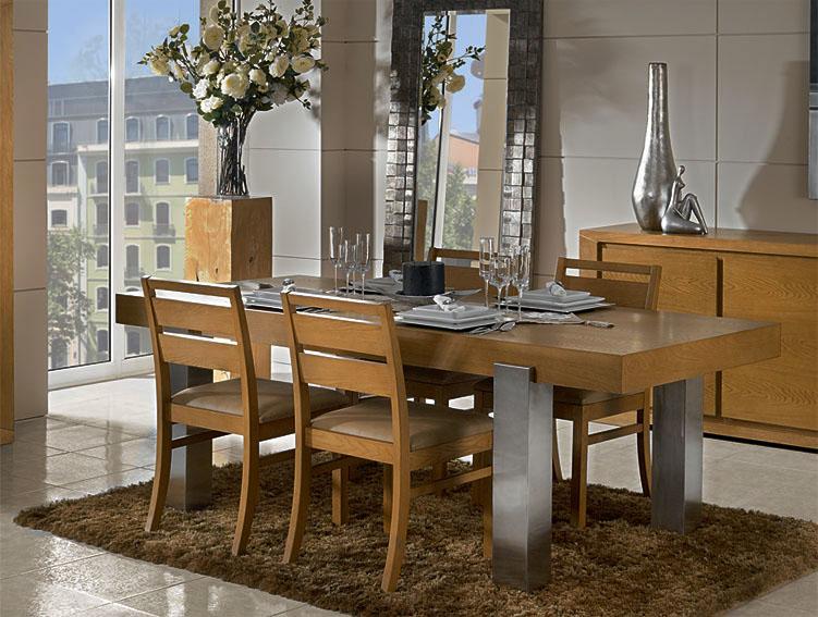 Mesa de comedor acero y roble dubrovnik no disponible en for Muebles de comedor mesas