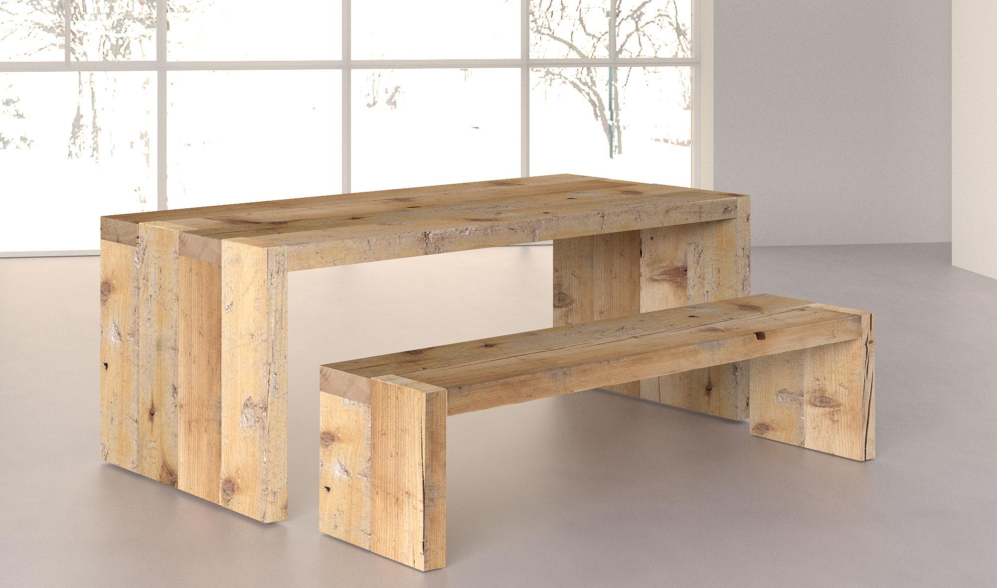 Mesa comedor denver de madera centenaria en - Mesas de exterior de madera ...