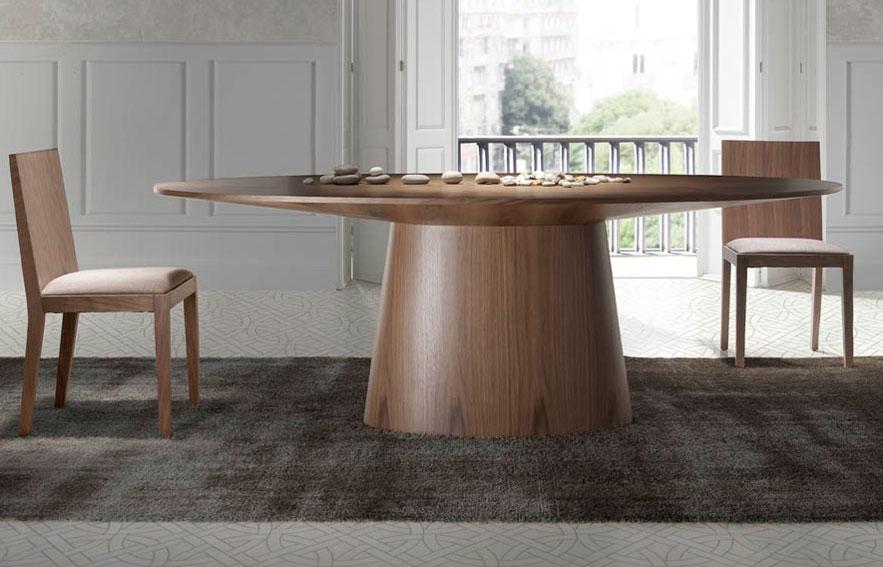 Mesa de comedor madera de comedor ovalada nogal villamil - Mesa ovalada comedor ...
