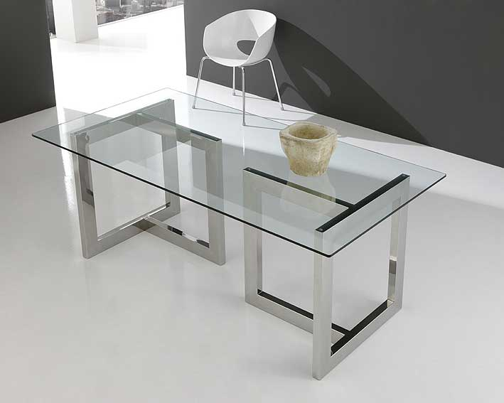 Mesa de cristal y acero inox en t en for Mesas de salon de cristal