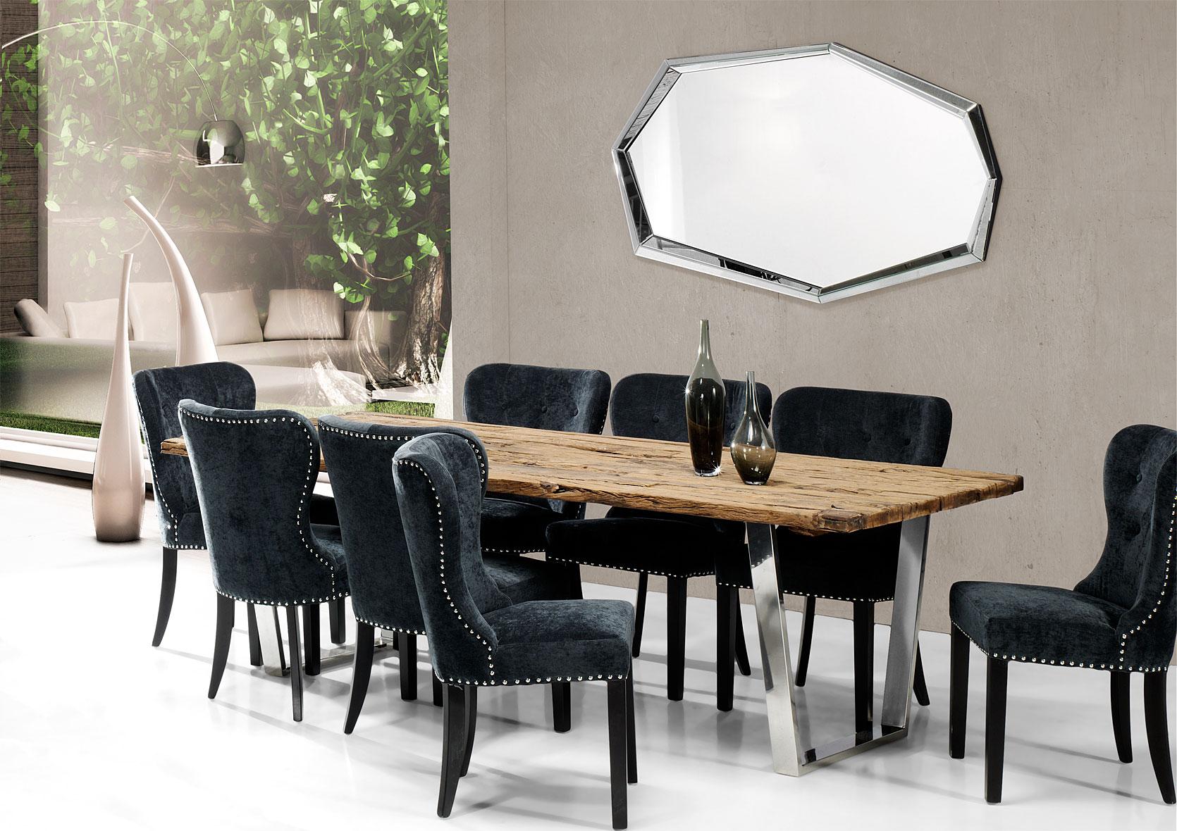 Mesa de comedor acero y madera reciclada no disponible en for Muebles de comedor en madera