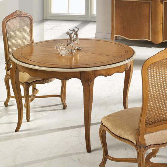 Mesa redonda extensible cl sica luis xv en cosas de for Muebles de comedor mesas