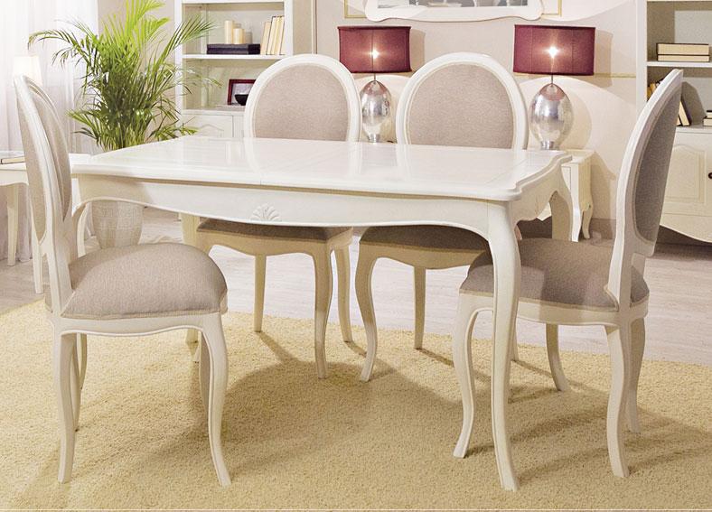 Mesa de comedor extensible blanca vintage par s en for Mesas de salon blancas