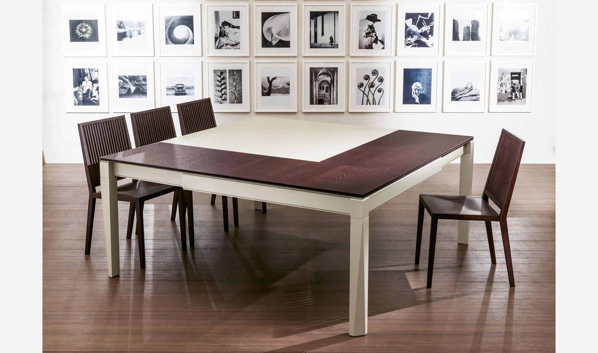 Mesa comedor extensible cuadrada pl rimo en for Muebles de comedor mesas
