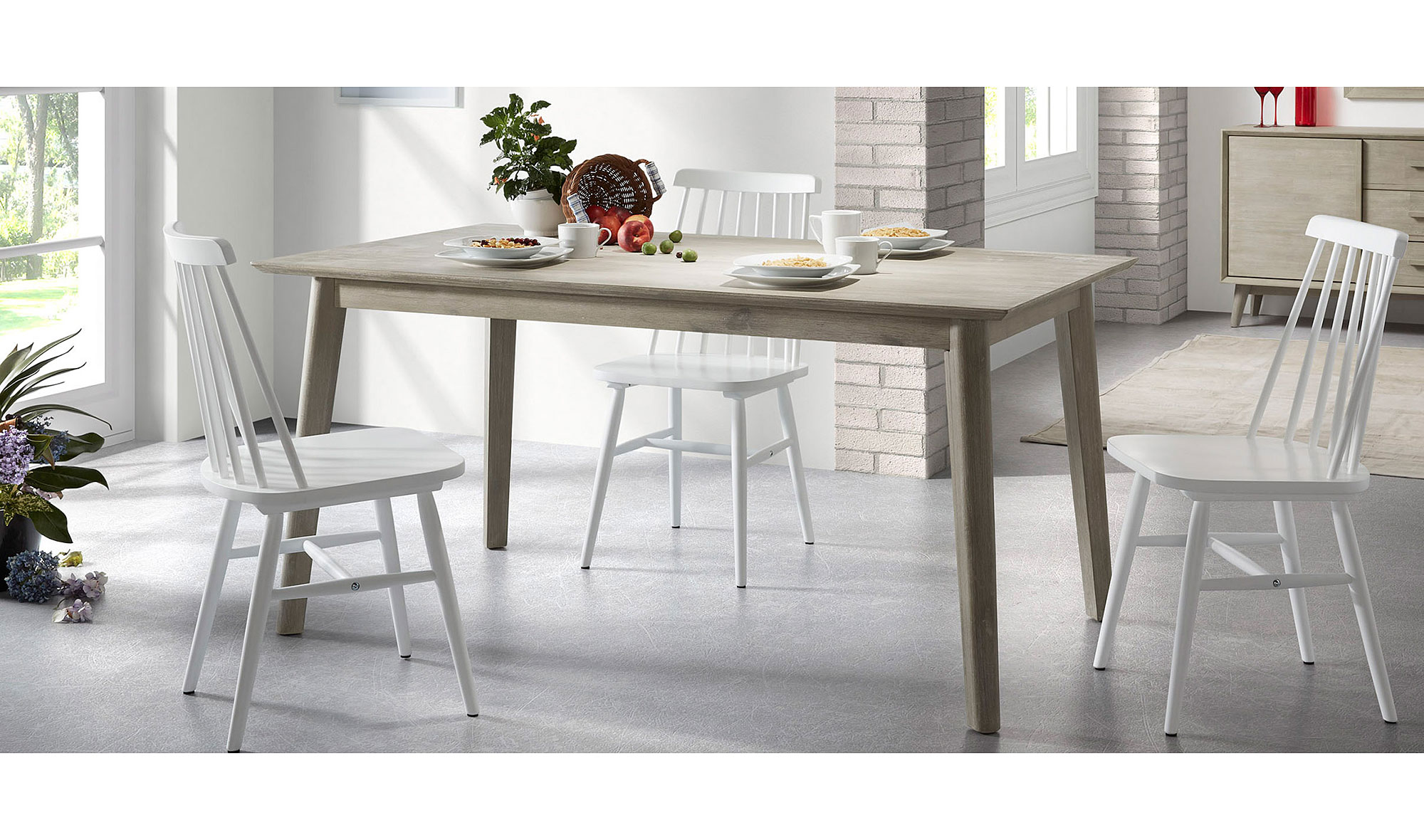 Mesa de comedor madera n rdica derwon no disponible en for Muebles contemporaneos de madera