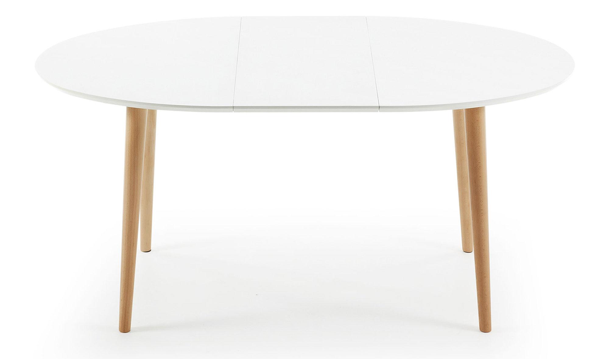 Mesa de comedor ovalada extensible n rdica oqui en for Mesas de salon blancas