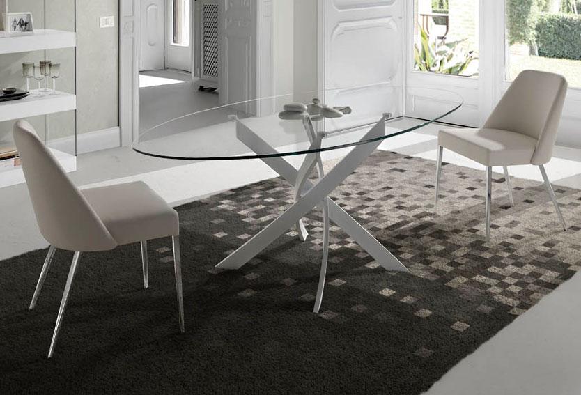 Mesa comedor oval lacada moderna xenon en tu tienda de for Muebles de oficina jovalu