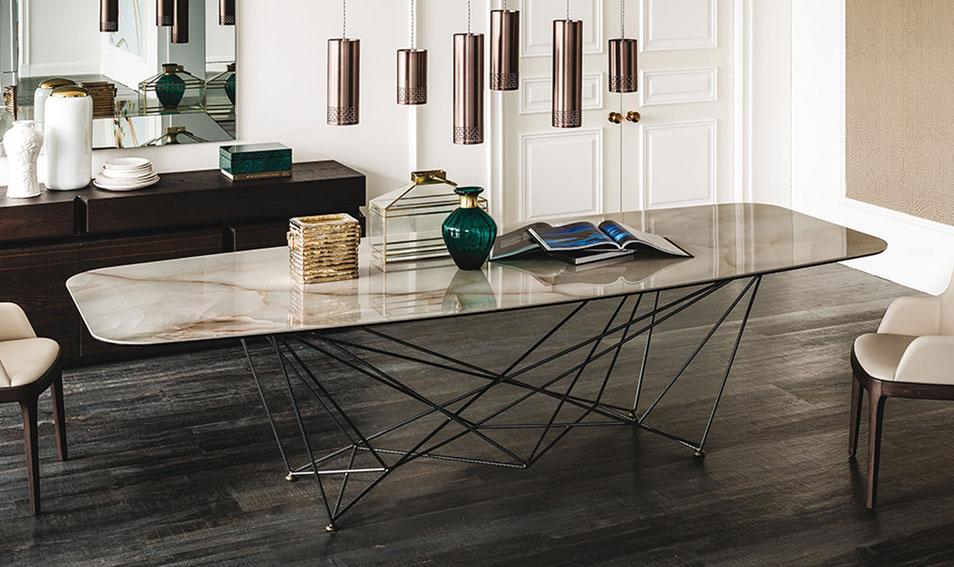 Mesa de comedor oval keramik gordon cattelan en for Mesa escritorio moderna