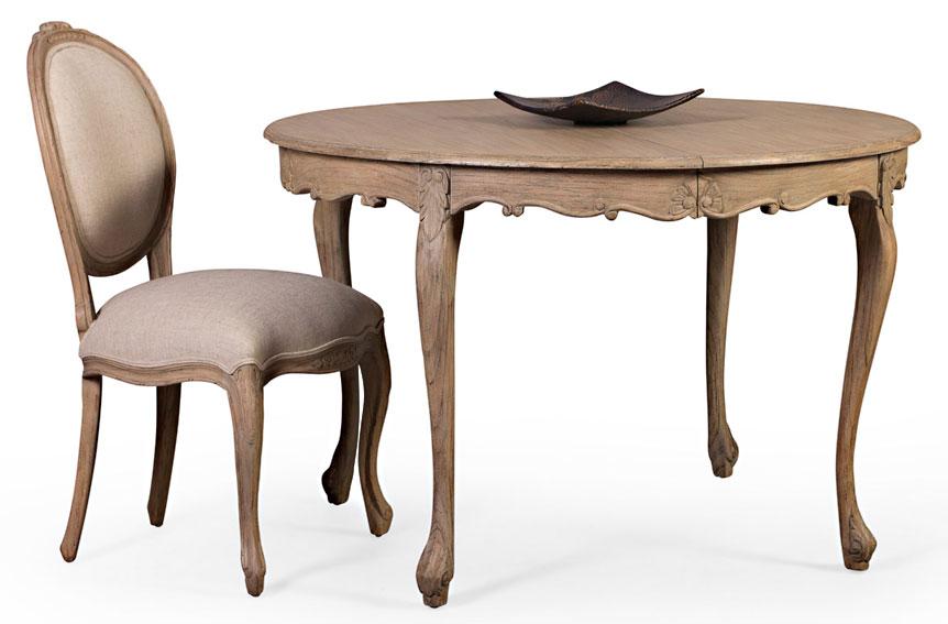 Mesa redonda extensible vintage artisan de lujo en for Mesas de comedor becara