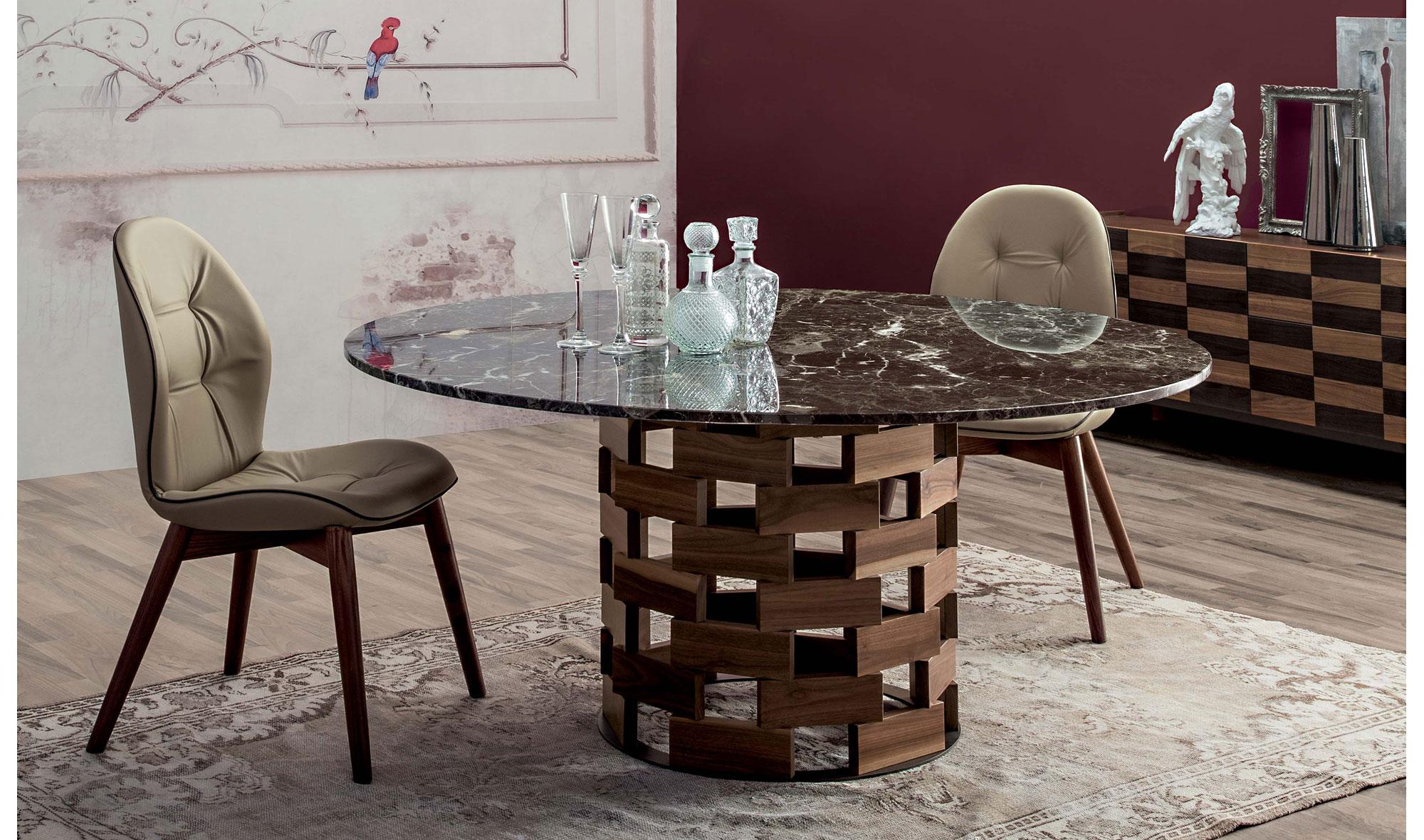 Mesa de comedor redonda moderna colosseo en for Mesa comedor muebles